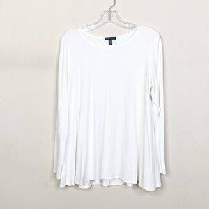 Eileen Fisher White Long Sleeve Flowy Top Medium